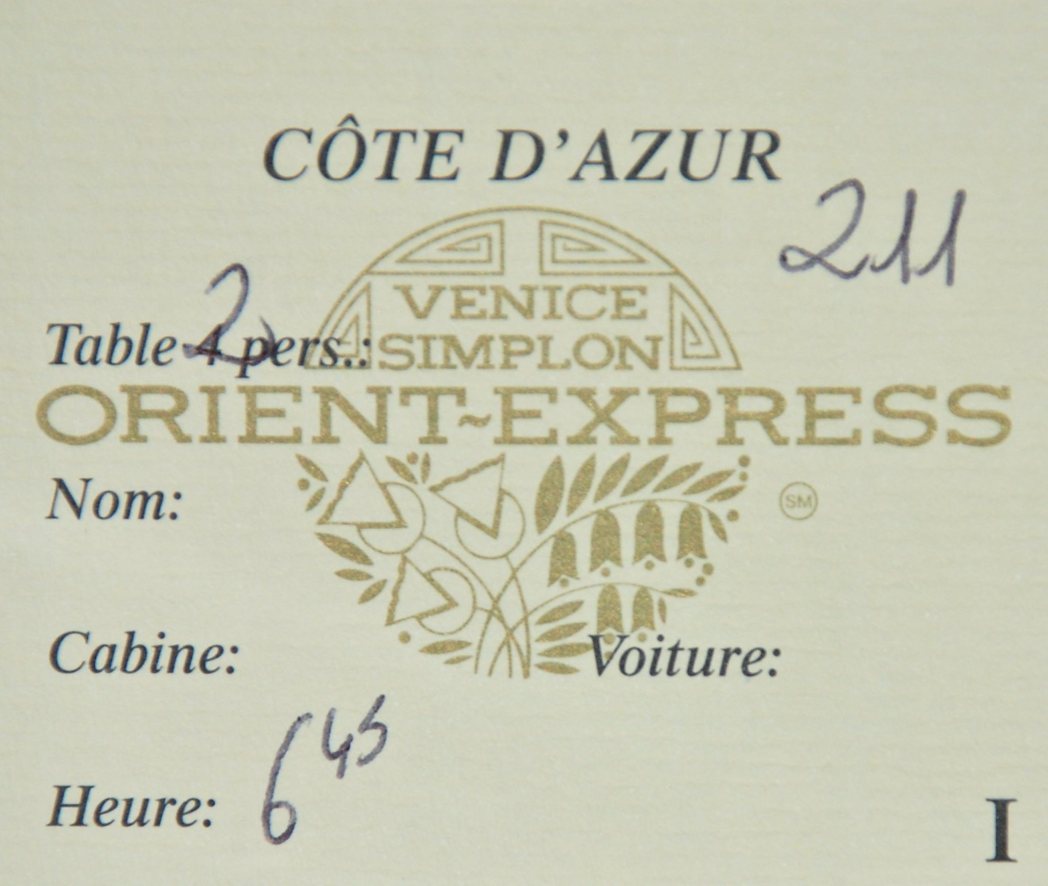Our dining reservation card on the Venice Simplon-Orient-Express