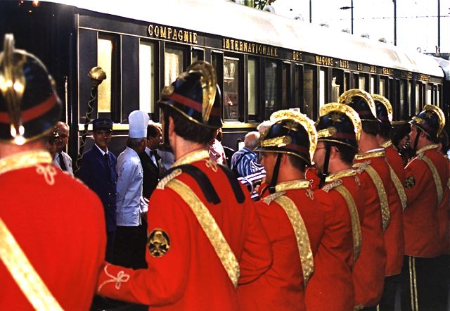 Hungarian military band greets guests during annual, over-the-top VSOE Paris-Istanbul sojourn. IRT Photo by Owen Hardy