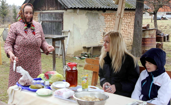 The co-author and her son Kirell enjoy a typical Ukrainian breakfast in the Carpathian countryside.