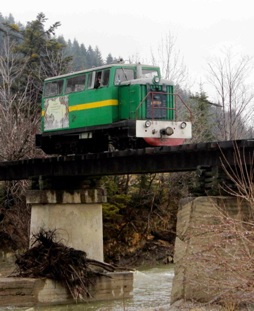 The authors' narrow-gauge diesel railcar crosses the Mizunka River on its journey into the Carpathian Forest.