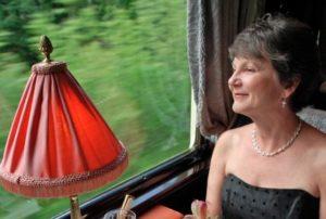 Eleanor Hardy aboard the Venice Simplon-Orient-Express.
