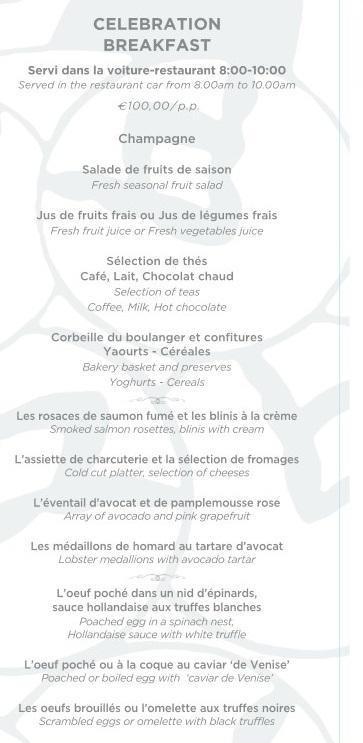 VSOE Champagne Breakfast menu