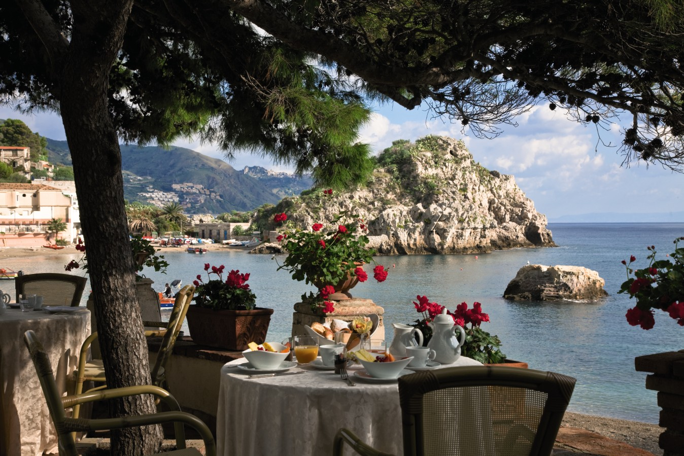 The Oliviero Restaurant, at the Belmond Villa Sant'Andrea, is famous for its seafood specialties. The hotel enjoys a prime slice of Sicilian real estate.