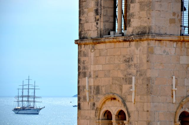The Sea Cloud as seen from the ramparts of Dubrovnik's city walls. IRT Photo by Owen Hardy