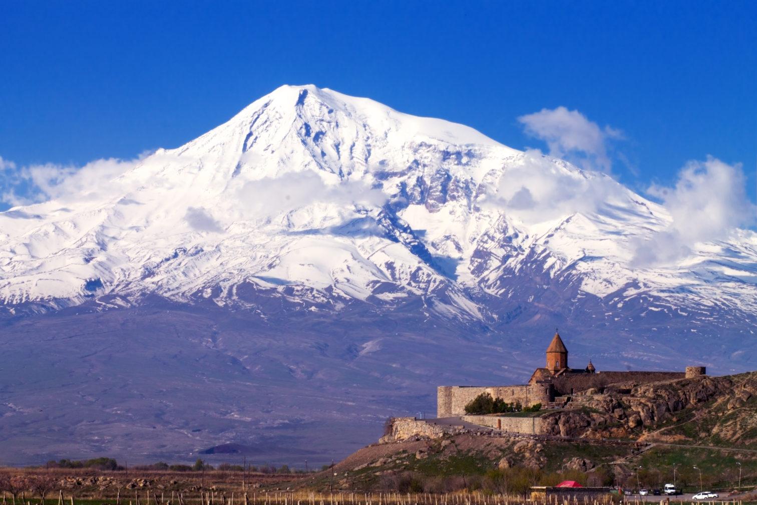 Mount Ararat rises behind Yerevan, Armenia.
