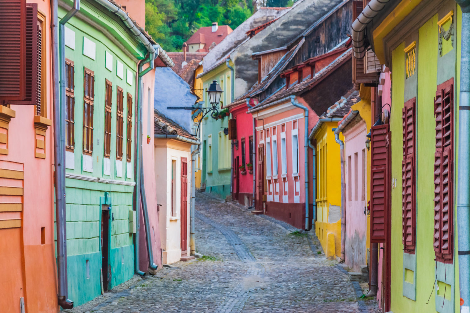 Colorful houses in Sighisoara, Romania.
