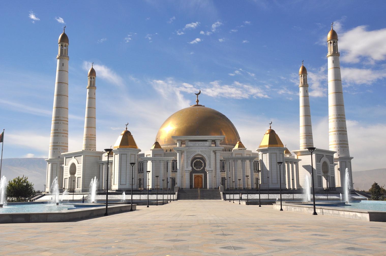 Silk Road Caspian Ashgabat Turkmenistan mosque.