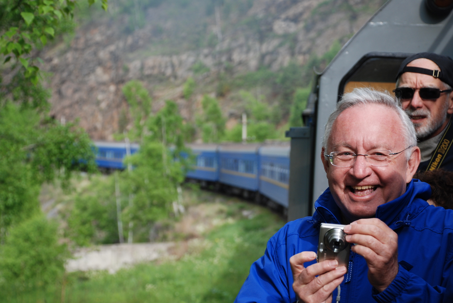 Happy Traveler on Golden Eagle Trans-Siberian Express.