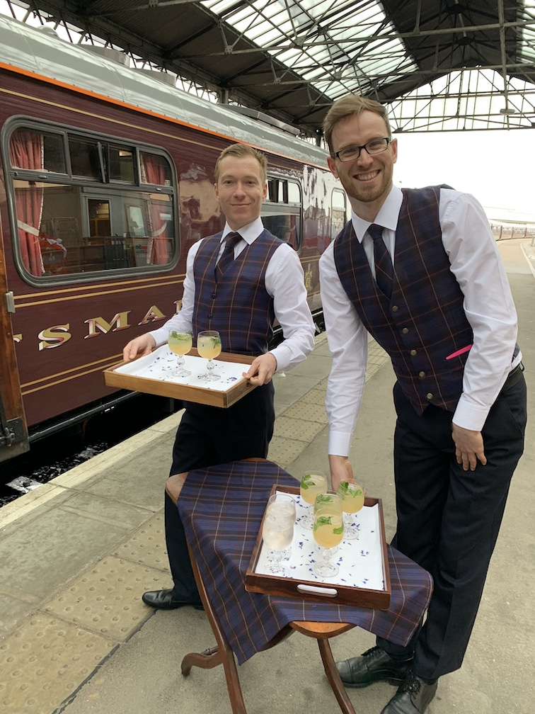 Friendly staff of Belmond Royal Scotsman.