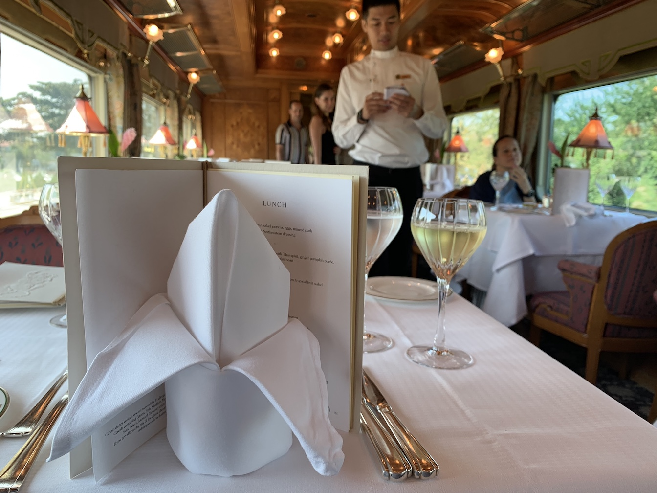 Server in dining car on Eastern & Oriental Express