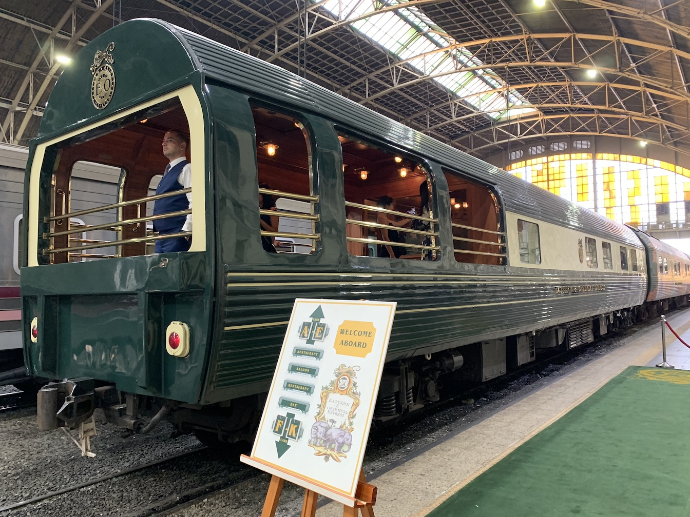 Man on platform in station Eastern & Oriental Express
