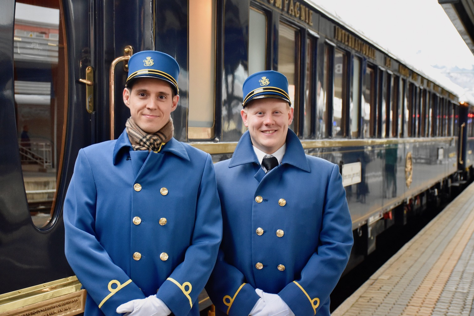 Venice Simplon Orient Express stewards welcoming on board.