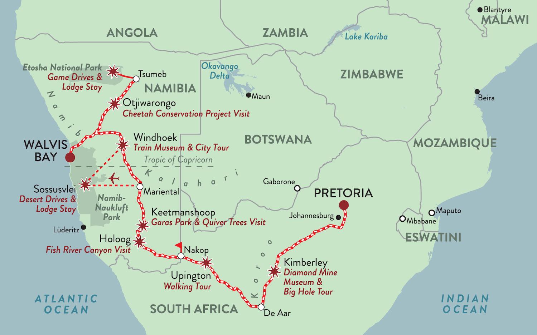 Rovos Rail Namibia map NEW