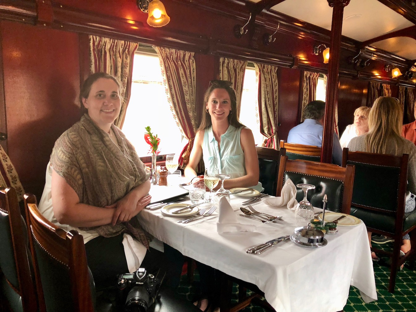 Rachel and Angela Rovos Rail dining car lunch.