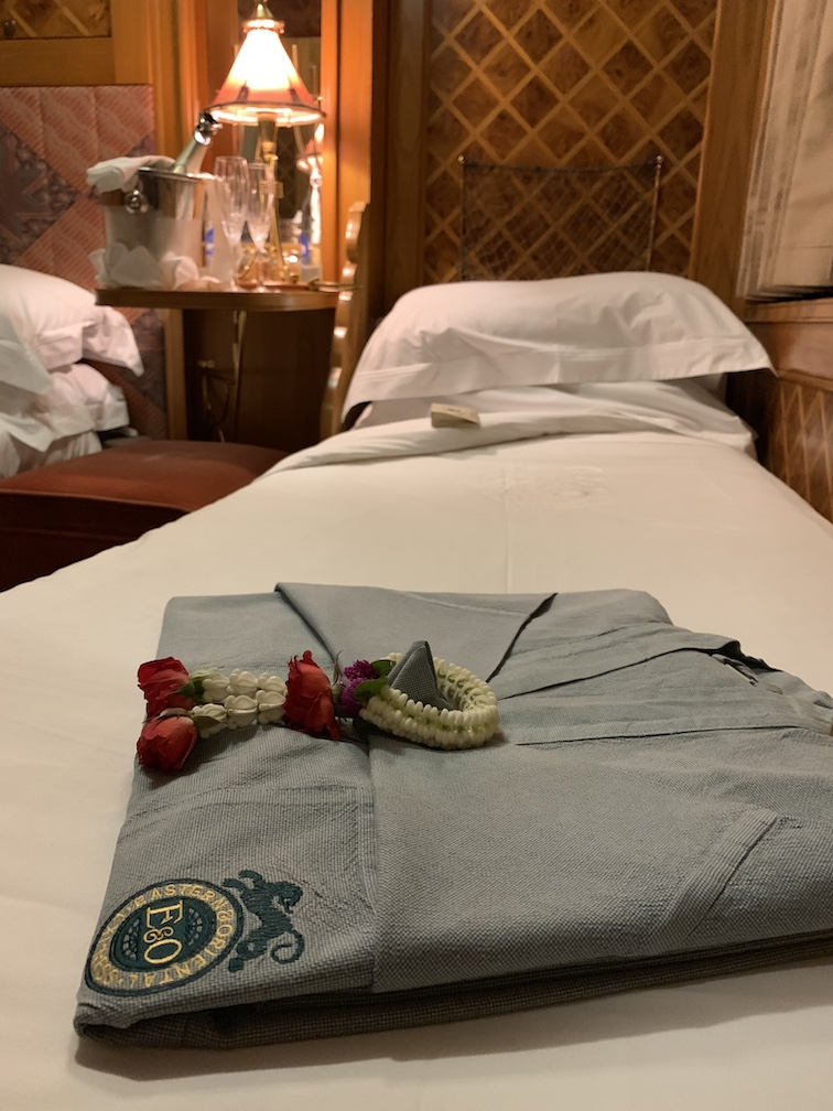 Robe on bed of Eastern & Oriental Express