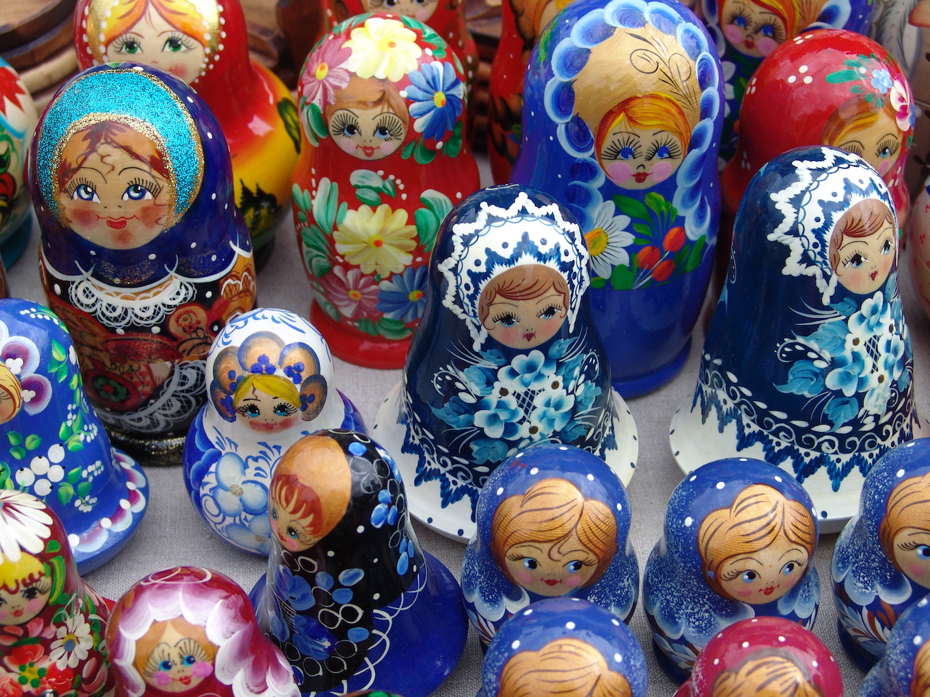 Moscow nesting dolls on Golden Eagle Trans-Siberian Express.
