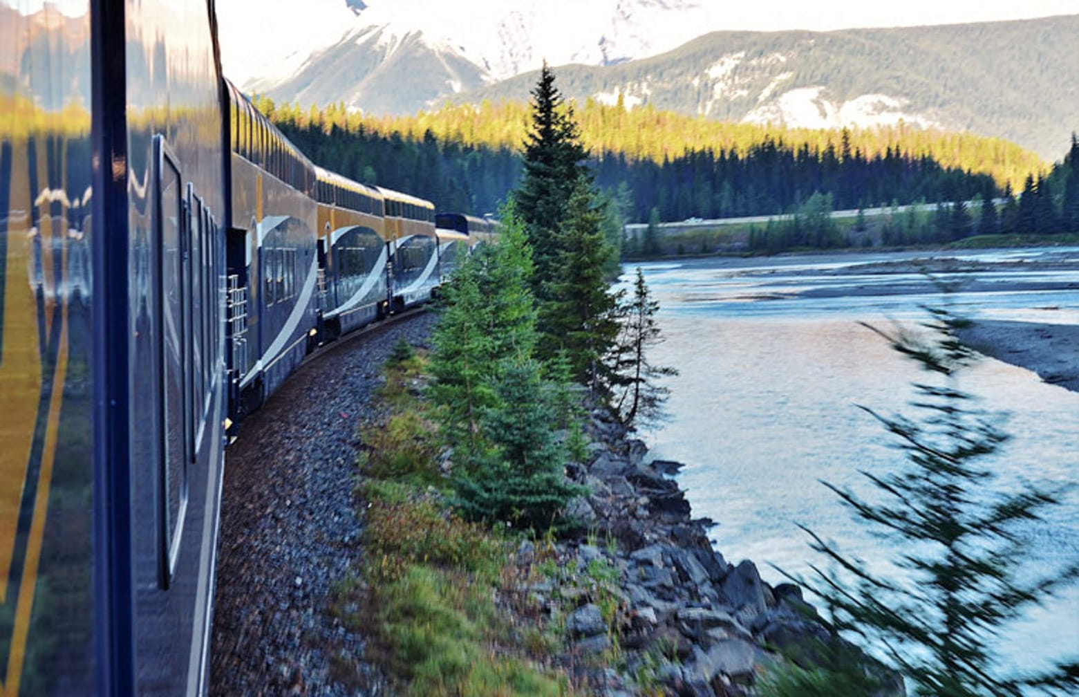 Exterior of train on the Canadian Rockies Getaway Circle journey