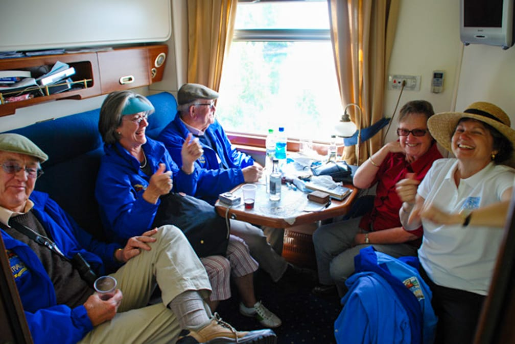 Group in the car on the Golden Eagle Trans-Siberian Express journey