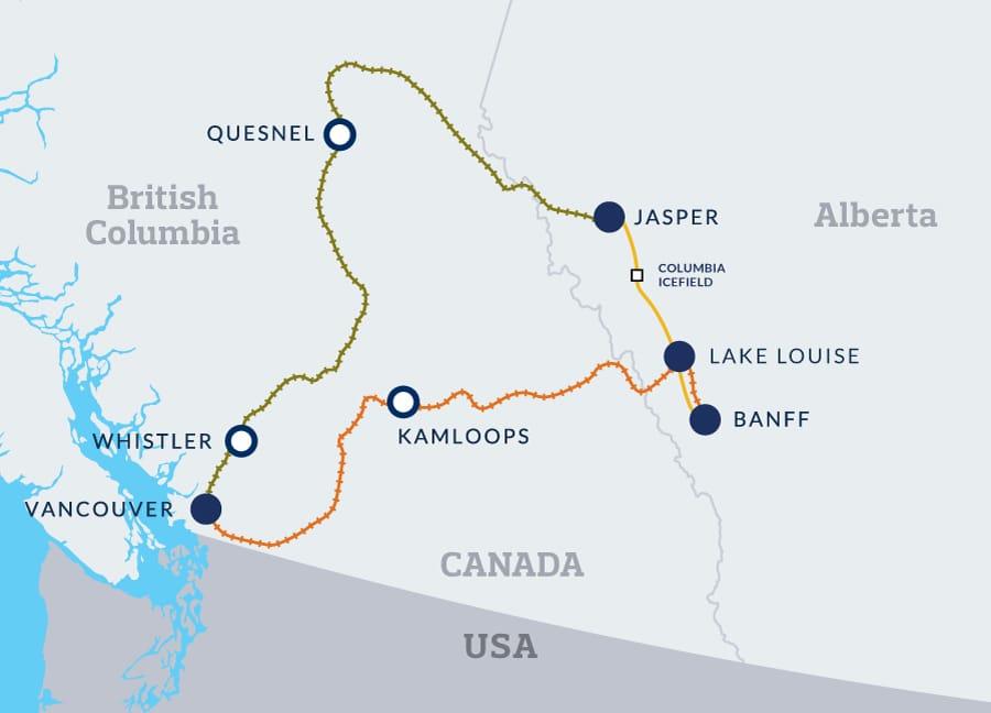 Rocky Mountaineer: Grand Rail Circle map