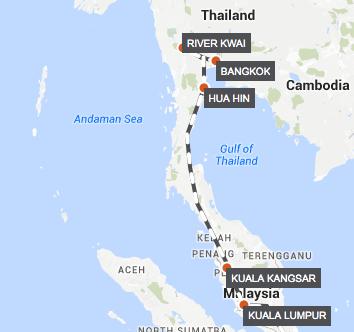 Kuala Lumpur-Bangkok by Luxury Train map