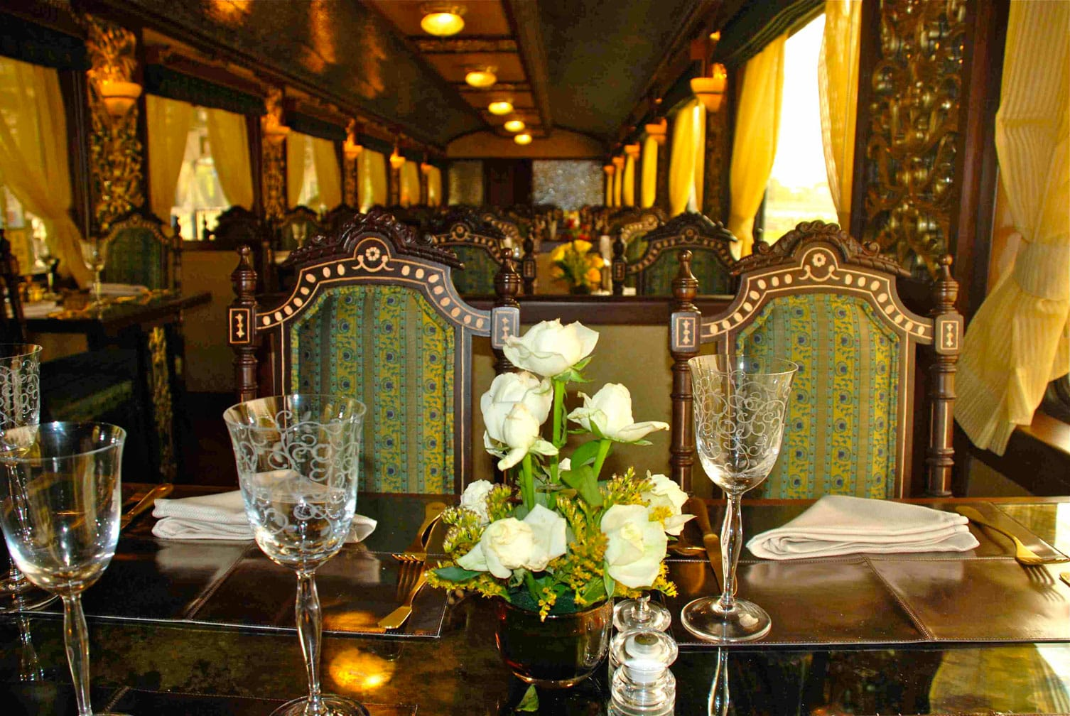Dining car on the Maharajas' Express Indian Panorama, Delhi-Delhi journey