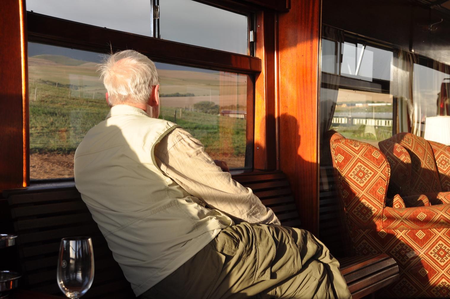 Man in Rovos Rail lounge car.