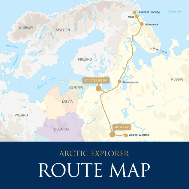 Arctic Explorer – Quest for the Northern Lights: St. Petersburg-Moscow aboard the Golden Eagle map