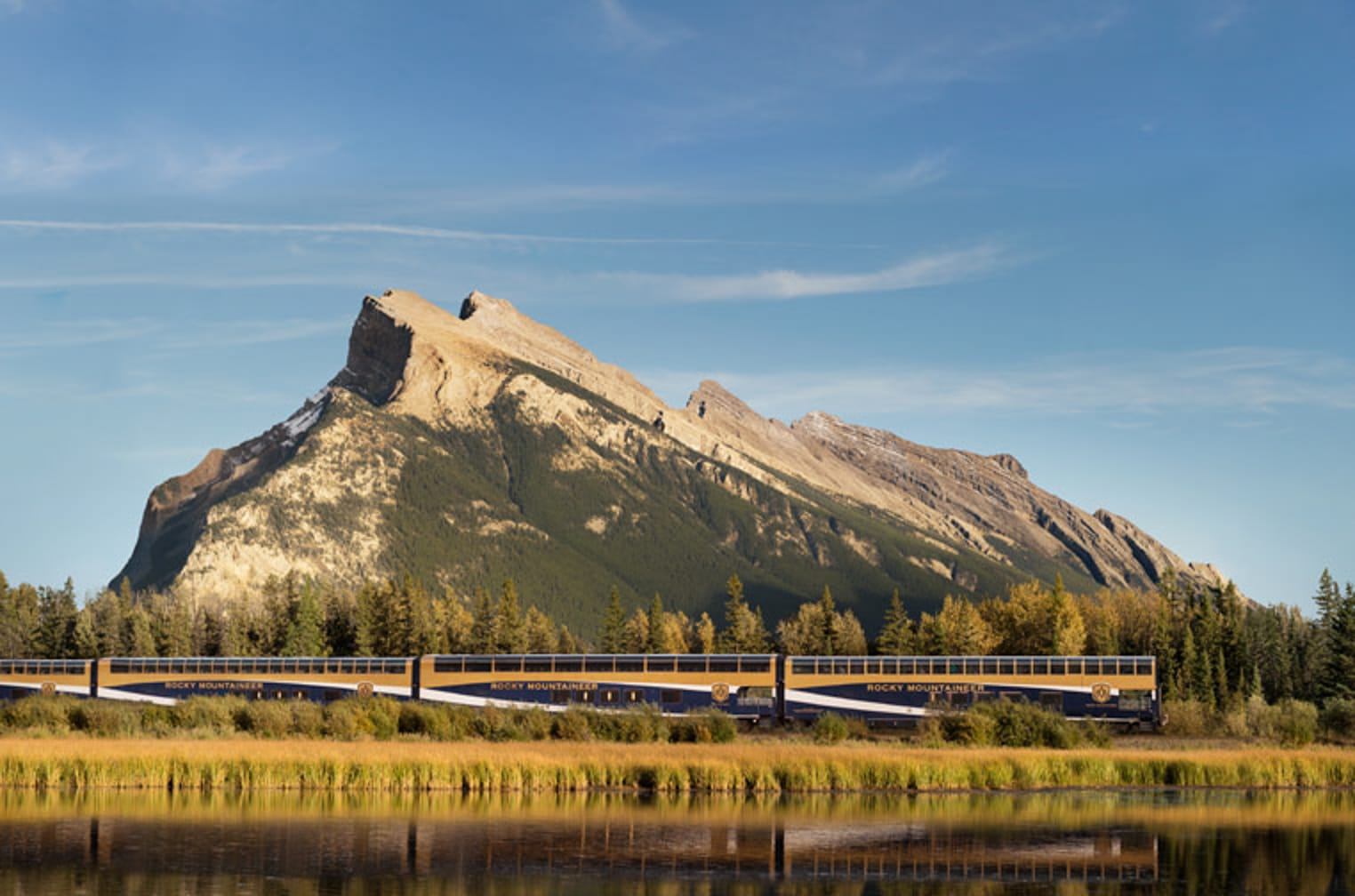 Mountain at sunset on the Rocky Mountaineer: First Passage to the West Highlights journey