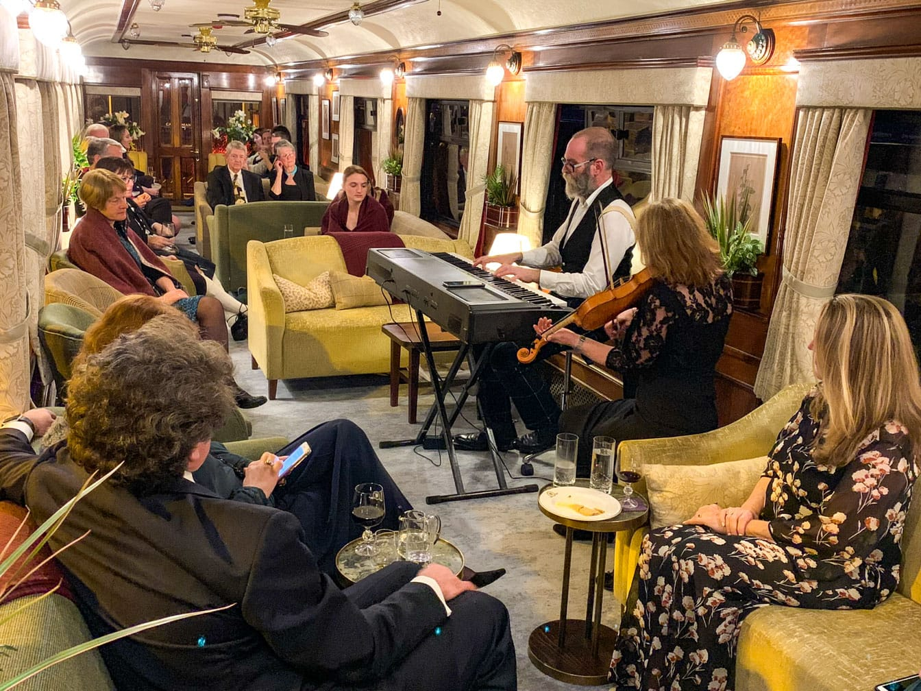 Playing music for guests on the Scotland's Classic Splendours journey