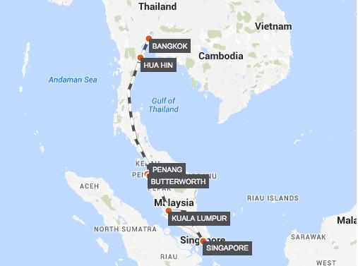 Voyage of Southeast Asia: Singapore-Bangkok Extended Tour map