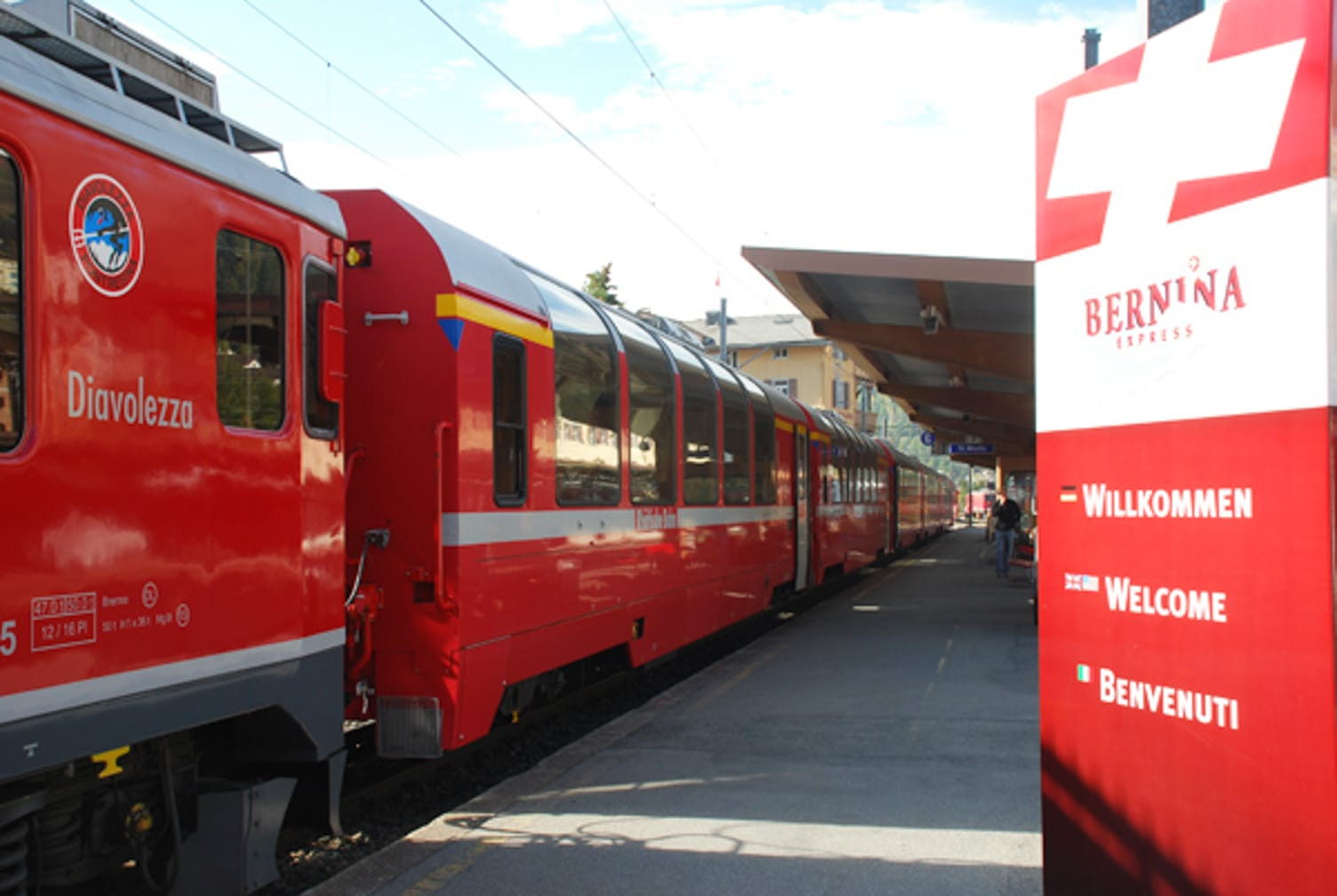 Two red trains