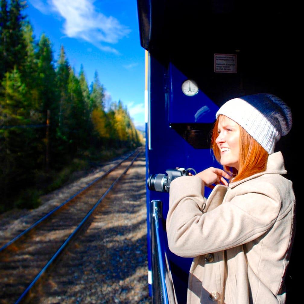 Woman admiring views on the Trans-Canada Rail Adventure: Vancouver-Toronto journey