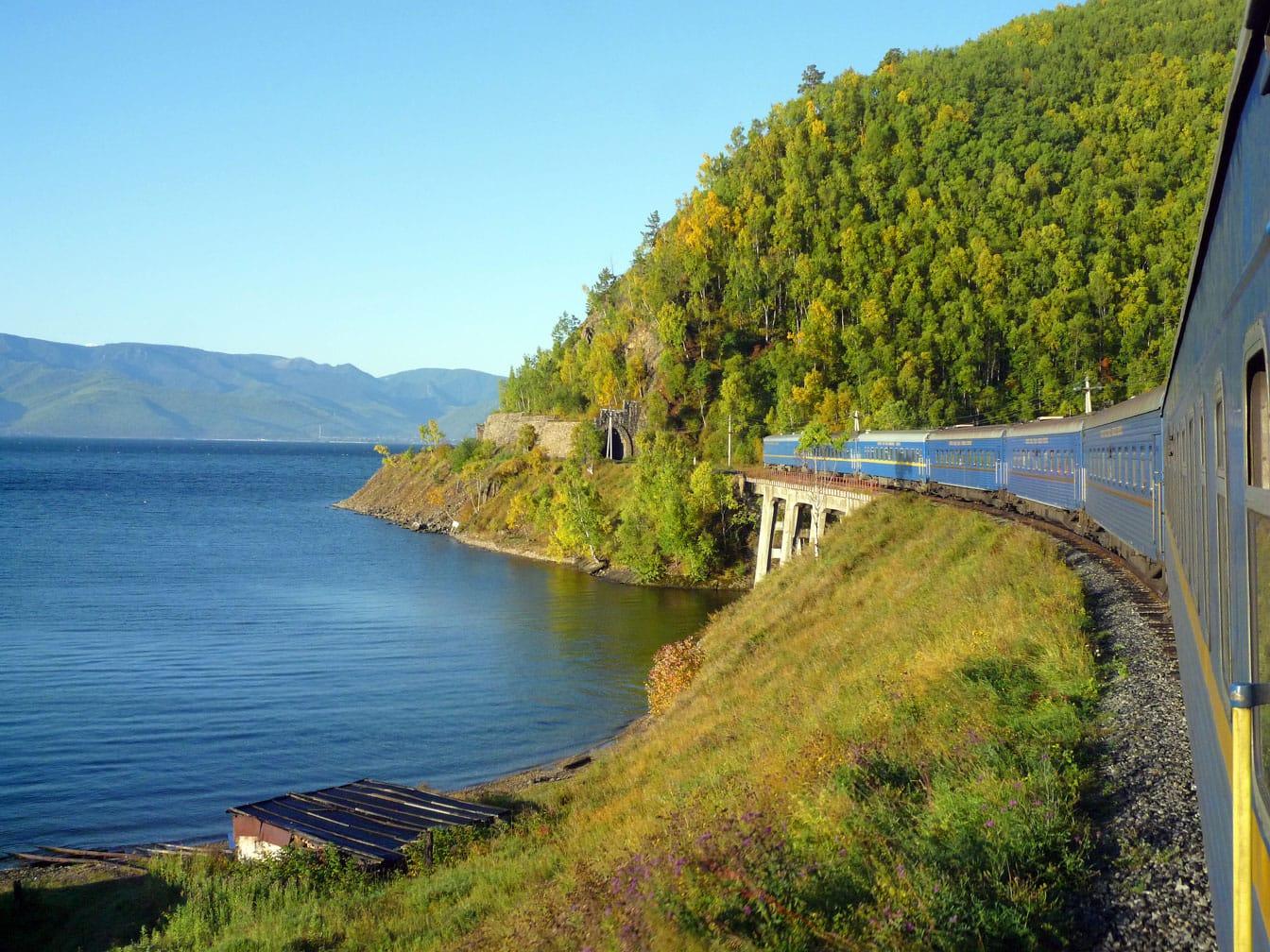 Train on the coast on the Ulaan Baatar Express: Moscow to Ulaan Baatar journey
