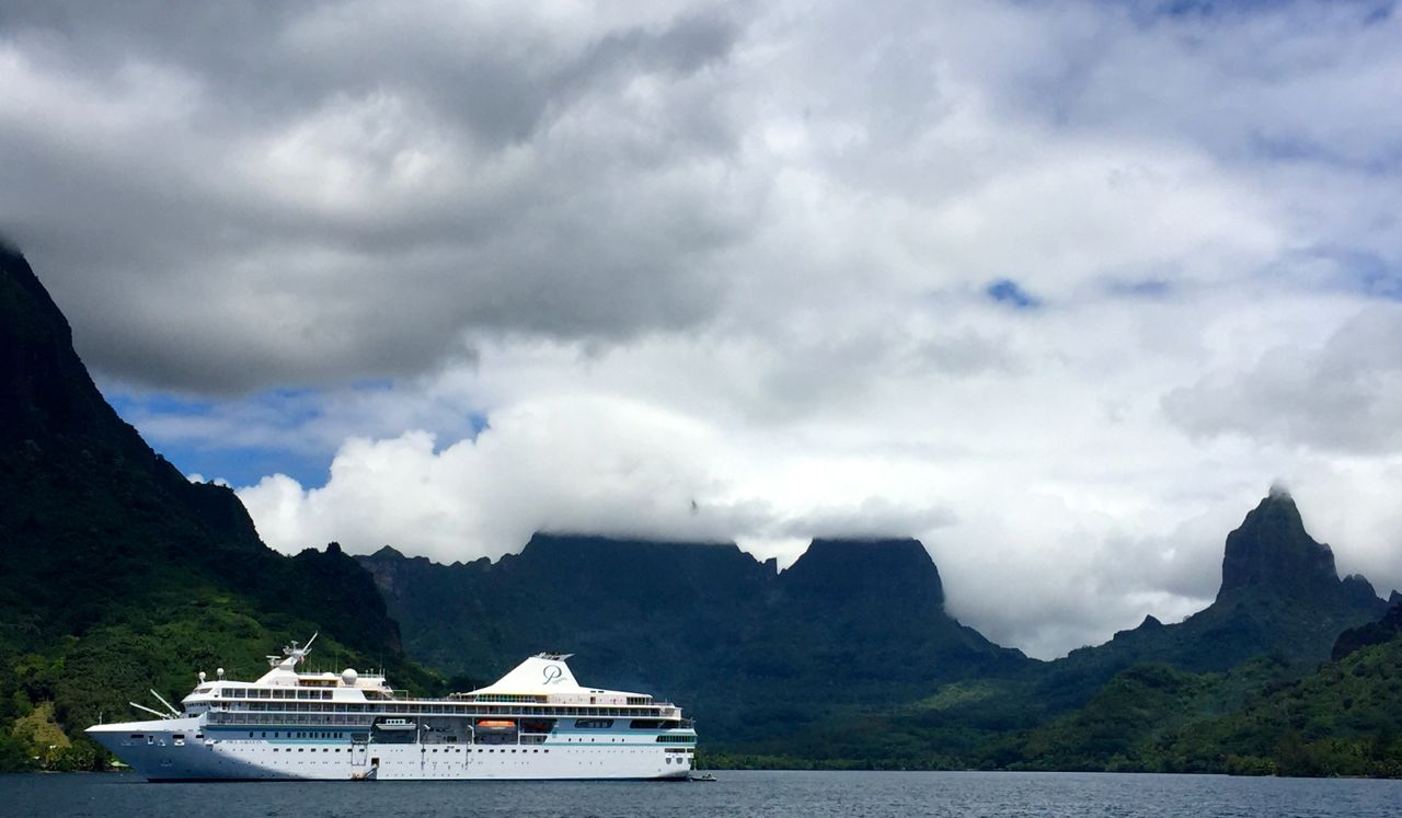 The Paul Gauguin anchored in Moorea. IRT photo by Angela Walker