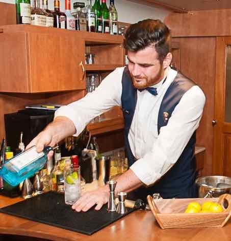Bartender in GE Danube Express bar car