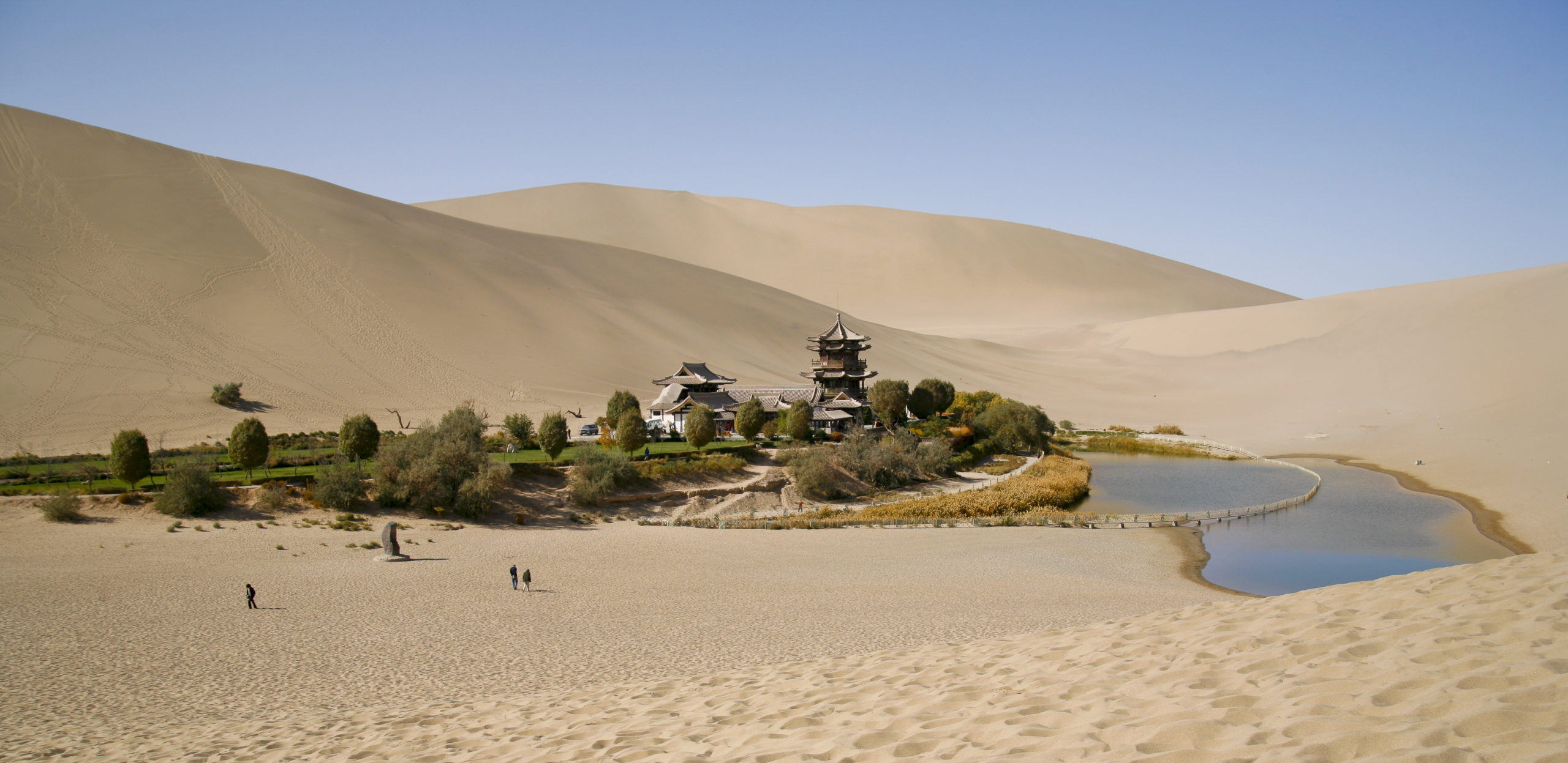 The oasis of Crescent Lake at Dunhuang, China