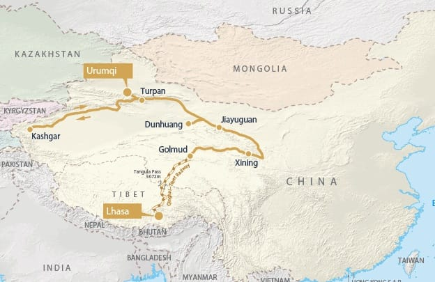 China and Tibet Rail Discovery map