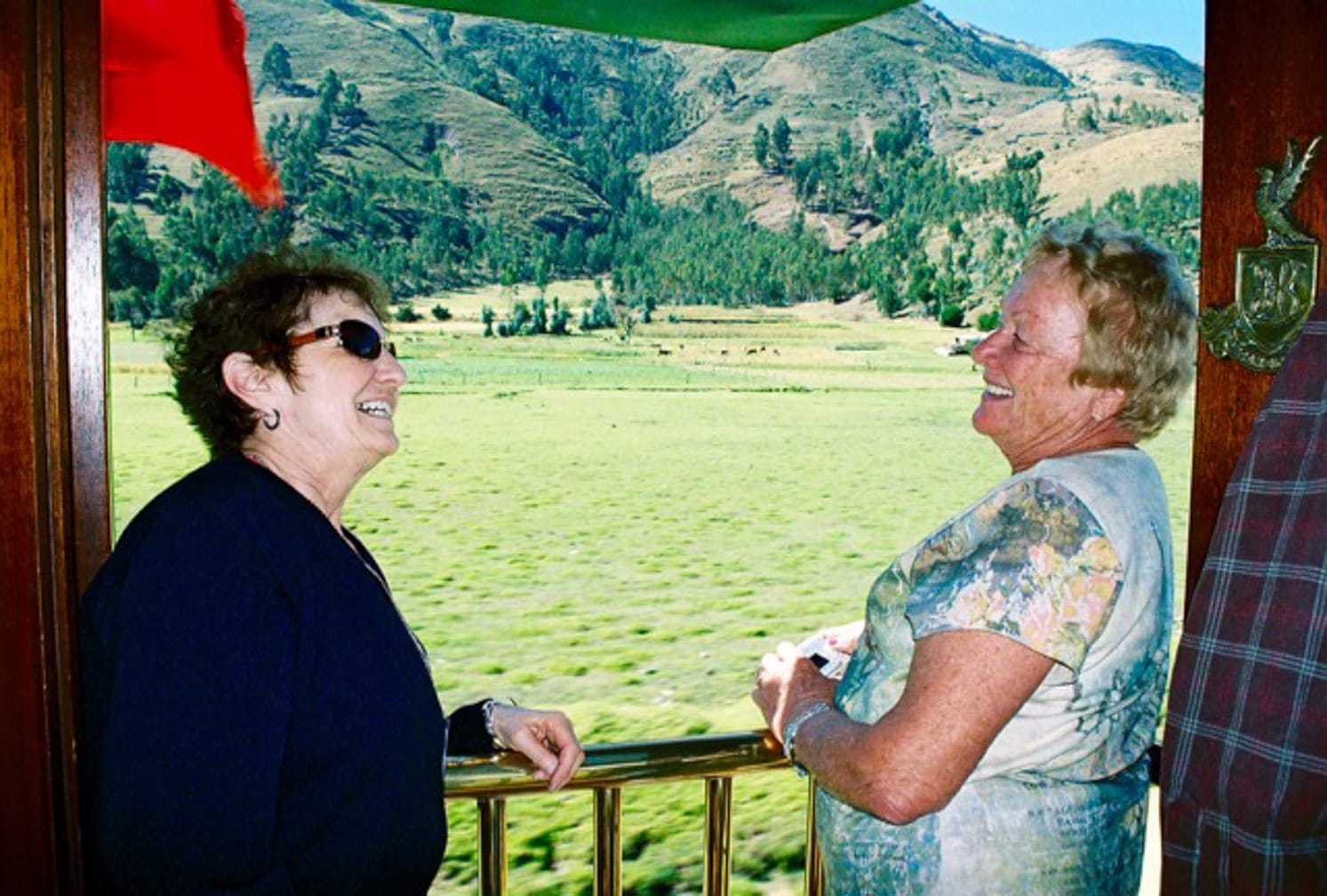 Two women laughing on the Peru: Journey to a Lost World journey