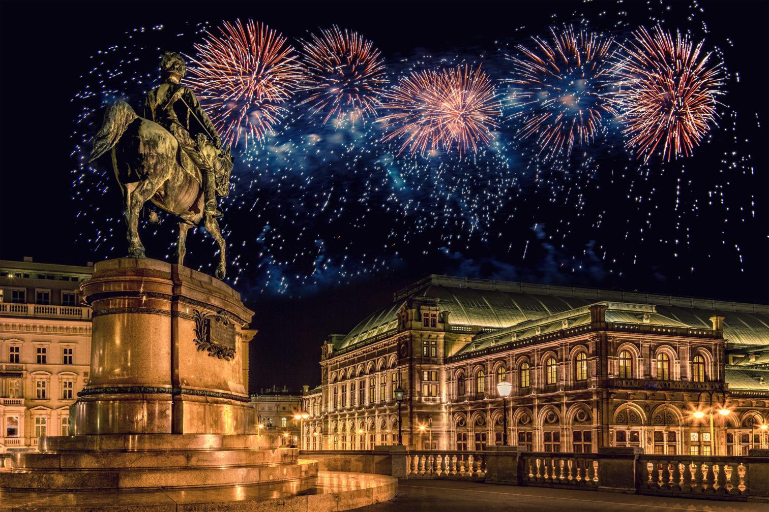 Fireworks on New Year's Eve in Vienna, Austria.