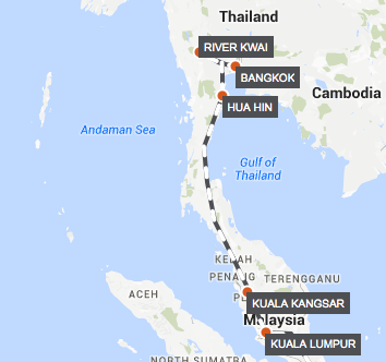 Bangkok-Kuala Lumpur by Luxury Train map