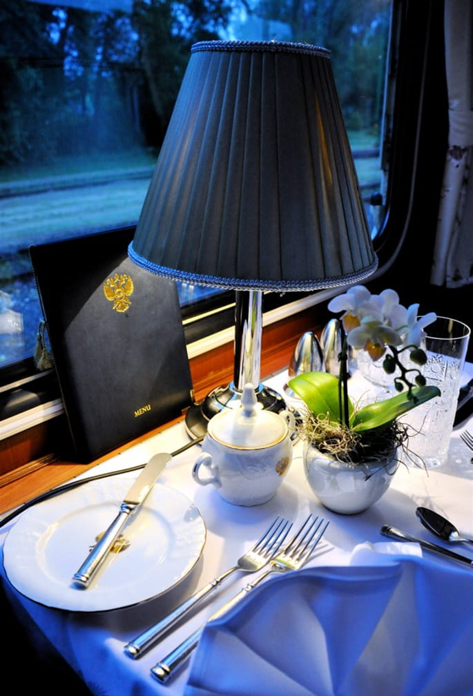 Dinner set up on the Grand Alpine Express: Budapest to Venice on the Danube Express journey