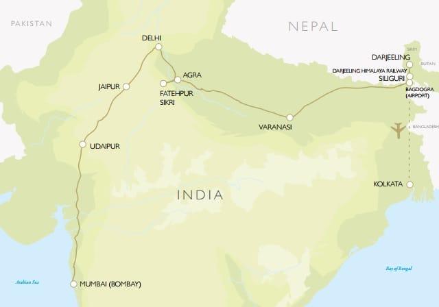 Darjeeling Mail: Mumbai to Kolkata by Luxury Deccan Odyssey Train map