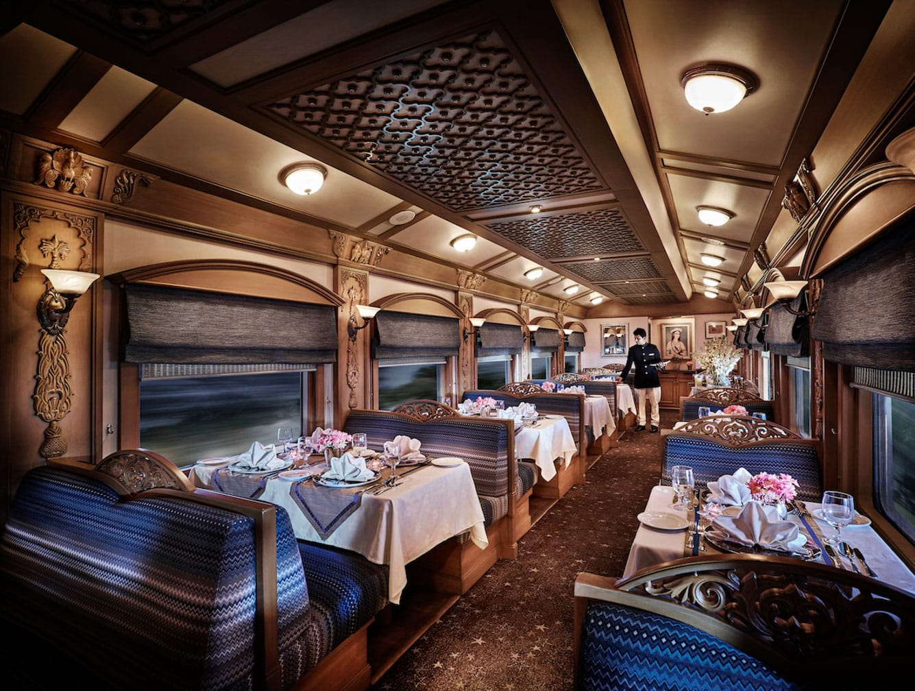 Dining cabin ready for guests on the Darjeeling Mail: Mumbai to Kolkata by Luxury Deccan Odyssey Train journey