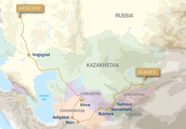 A Taste of the Silk Road: Almaty to Moscow map