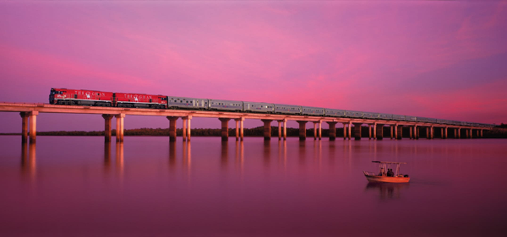 The Ghan crossing over Elizabeth River on the Luxury Down Under journey