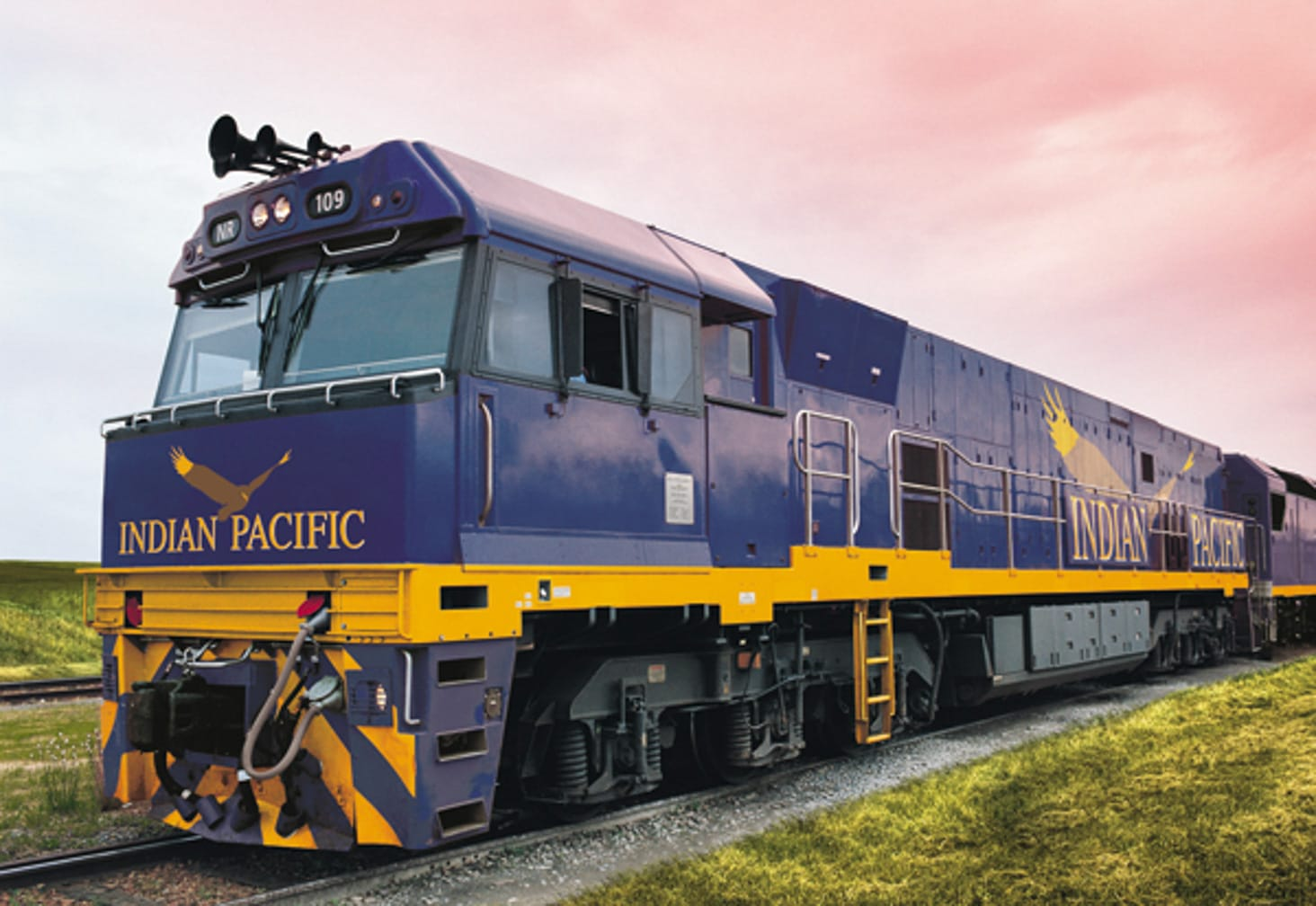 Indian Pacific locomotive on the Luxury Down Under journey
