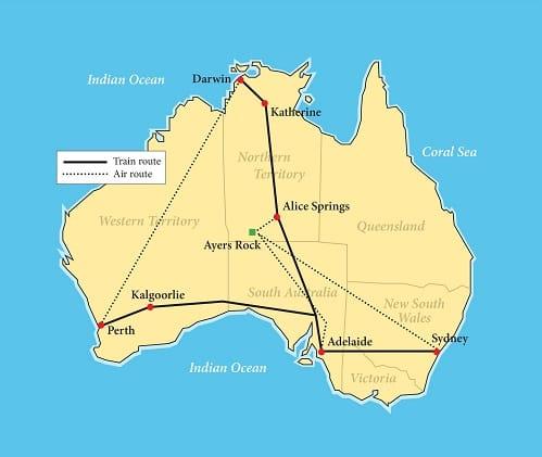 Australia Rail Extravaganza: Luxury Down Under map
