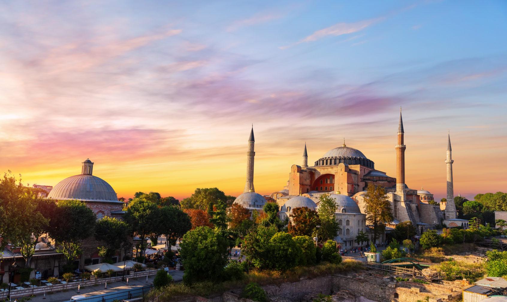 Hagia Sophia Mosque in Istanbul at sunset.