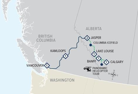 Rocky Mountaineer: Ultra-Luxe Canadian Rockies Adventure map