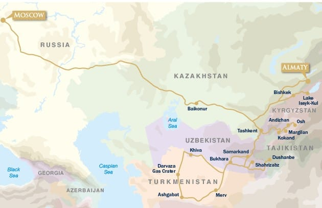 Republics of the Silk Road: Moscow to Almaty map
